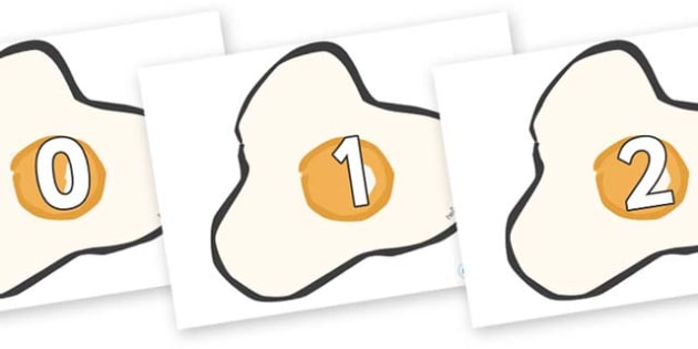 Numbers 0-100 on Fried Eggs - 0-100, foundation stage numeracy, Number recognition, Number flashcards, counting, number frieze, Display numbers, number posters