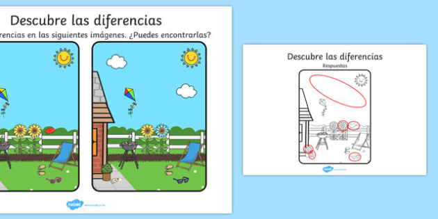 Descubre las diferencias Summer Spot the Difference Activity Spanish - seasons, activities, games, seaons, summertime, Timw