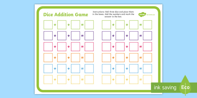 Three Dice Addition Game Thee Dice Addition Game Addition