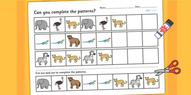Safari Complete the Pattern Worksheet - fine motor skills, animal