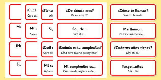 Comuninare in spaniola, Cartonase cu expresii si propozitii simple