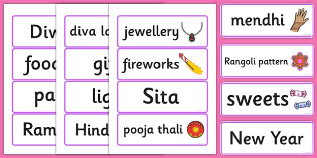 Diwali Topic Word Cards - Word cards, Word Card, flashcard, flashcards, Diwali, religion, hindu, hanoman, rangoli, sita, ravana, pooja thali, rama, lakshmi, golden deer, diva lamp, sweets, new year, mendhi, fireworks, party, food. divali, divalli