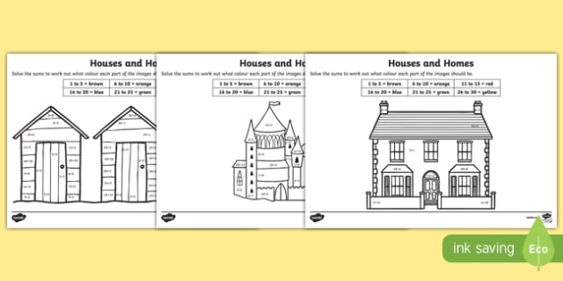 Houses and Homes Addition to 30 Colour by Number