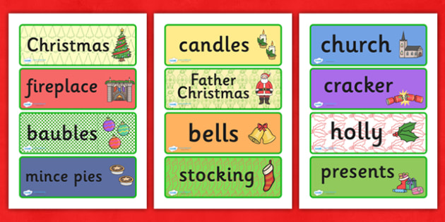 Decorative Christmas Word Cards - christmas, xmas, word cards