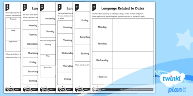Language Related to Dates Home Learning Tasks - Measurement, measures, language related to dates, days of the week, months of the year, calendars, h