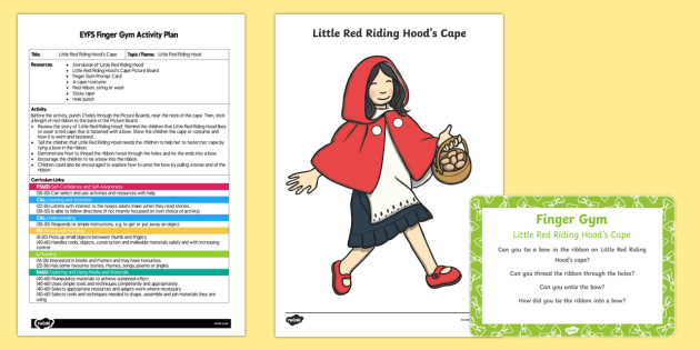 EYFS Little Red Riding Hood's Cape Finger Gym Plan and Resource Pack