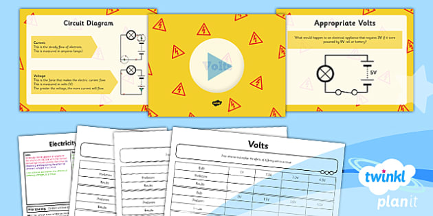 PlanIt - Science Year 6 - Electricity Lesson 3: Volts Lesson Pack - electricity, current, voltage, volt, measure