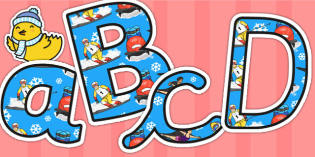 Winter Olympics Themed Size Editable Display Lettering - winter
