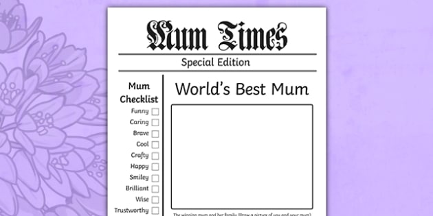 Mothers Day Newspaper Card Template - mothers day, template