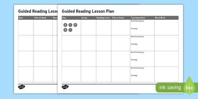 Guided Reading Lesson Plan Aid - australia, guided reading, lesson, plan