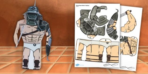 Ancient Rome Paper Model Gladiator - paper model, rome, gladiator