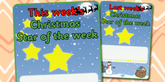Christmas Star of the Week Poster - christmas, christmas themed posters, star of the week, posters, class management, behaviour management, rewards