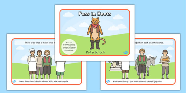 Puss in Boots Story Sequencing A4 Polish Translation - polish, puss in boots, story sequencing