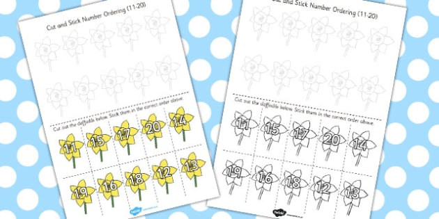 Cut and Stick Number Ordering Daffodil Activity 11-20 - daffodil