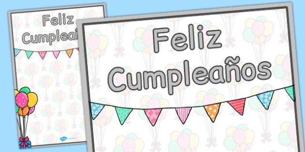 Spanish Happy Birthday Posters 2xA4 - spanish, birthday, posters