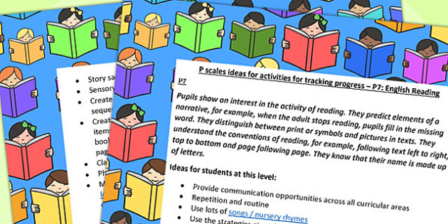 P Scales Ideas Activities for Tracking Progress English Reading