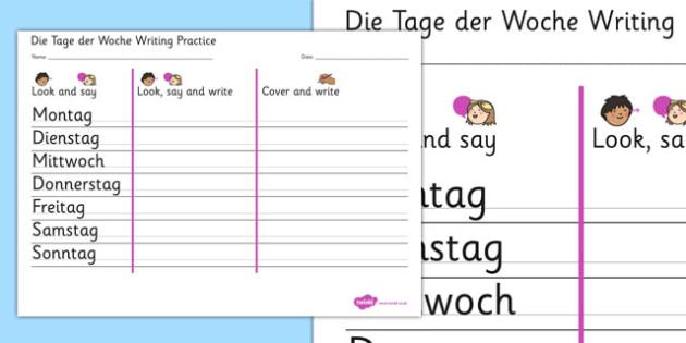 Die Tage der Woche Writing Practice German - german, days, week, writing, practice