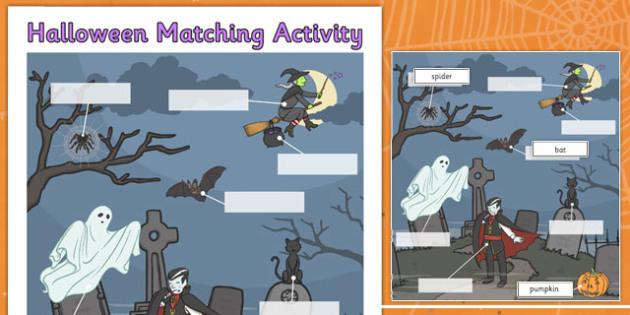 Halloween Matching Activity Sheet - halloween, matching, activity, match, sheet, worksheet