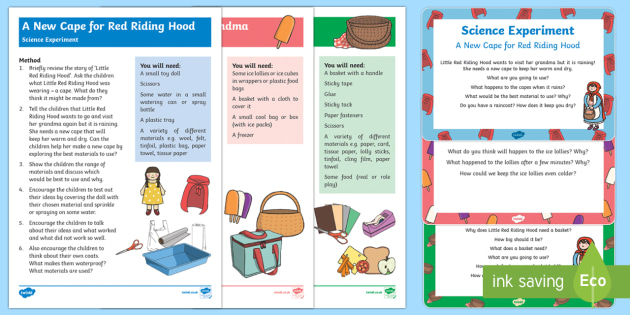 EYFS Little Red Riding Hood Science Experiments Resource Pack - Early Years, Little Red Riding Hood, traditional tales, granny, wolf, science, understanding the wor