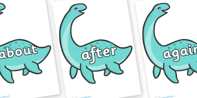 KS1 Keywords on Pleseosaur Dinosaurs - KS1, CLL, Communication language and literacy, Display, Key words, high frequency words, foundation stage literacy, DfES Letters and Sounds, Letters and Sounds, spelling