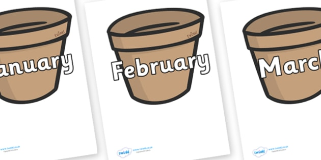 Months of the Year on Flower Pots - Months of the Year, Months poster, Months display, display, poster, frieze, Months, month, January, February, March, April, May, June, July, August, September