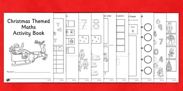 Christmas Themed Maths Activity Book - nz, new zealand, christmas, themed, maths, activity, book