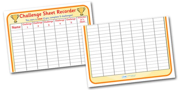 Challenge Sheet Recorder 2xA4 - challenge sheet, recorder, 2xa4, challenge, sheet