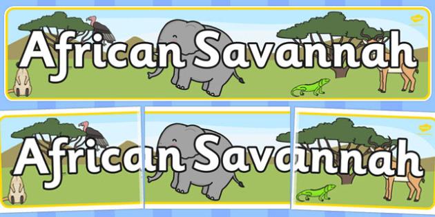 African Savannah Display Banner - Africa, Savanna, poster, display, vines, A4, display, lion, cheetah, puma, jaguar, rhino, hippo, elephant, giraffe, antelope