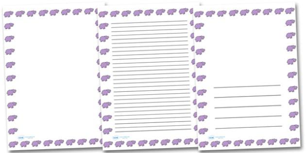 Hippo Landscape Page Borders- Landscape Page Borders - Page border, border, writing template, writing aid, writing frame, a4 border, template, templates, landscape