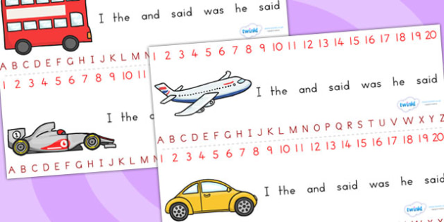 Transport Combined Number and Alphabet Strips - alphabet, number