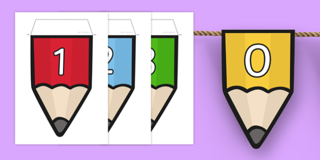 Numbers 0-20 on Pencil Bunting - numbers, 0-20, pencil, bunting, display bunting, display