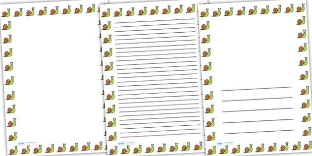 Snail Full Page Borders -page borders, snail page borders, snail borders for page, minibeast page borders, snail pages, A4, border for page, lined pages
