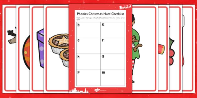 Phonics Christmas Hunt Resource Pack - phonics, christmas, hunt, resource, pack