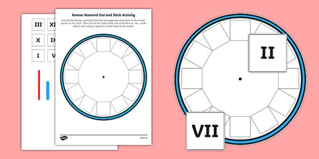Blank Roman Numerals Clock Cut and Stick Activity - blank, roman numerals, clock, cut and stick, activity