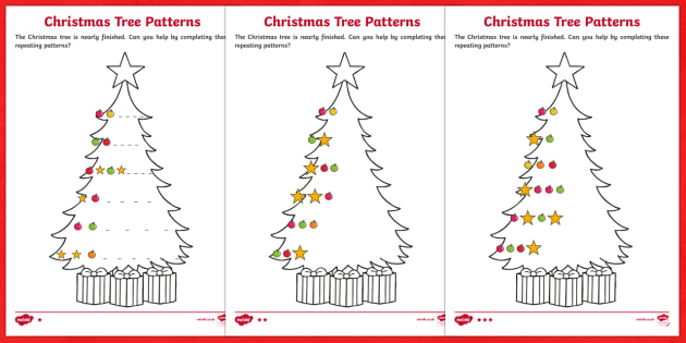 Christmas Tree Differentiated Complete the Pattern Activity Sheet