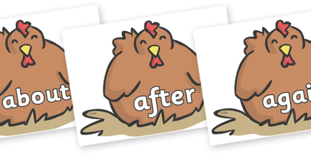 KS1 Keywords on Chickens - KS1, CLL, Communication language and literacy, Display, Key words, high frequency words, foundation stage literacy, DfES Letters and Sounds, Letters and Sounds, spelling
