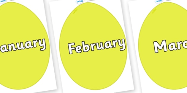 Months of the Year on Golden Eggs - Months of the Year, Months poster, Months display, display, poster, frieze, Months, month, January, February, March, April, May, June, July, August, September