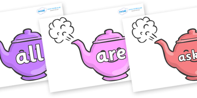 Tricky Words on Teapots - Tricky words, DfES Letters and Sounds, Letters and sounds, display, words