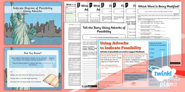 PlanIt Y5 SPaG Lesson Pack: Indicate Degrees of Possibility Using Adverbs - GPS, adverbs, possibility