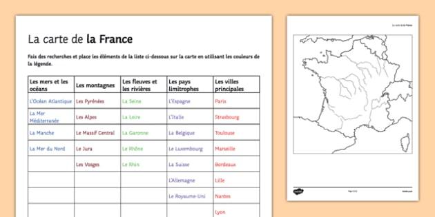 Carte de la France vierge à remplir - french, Geography, River, Mountain, Country, City