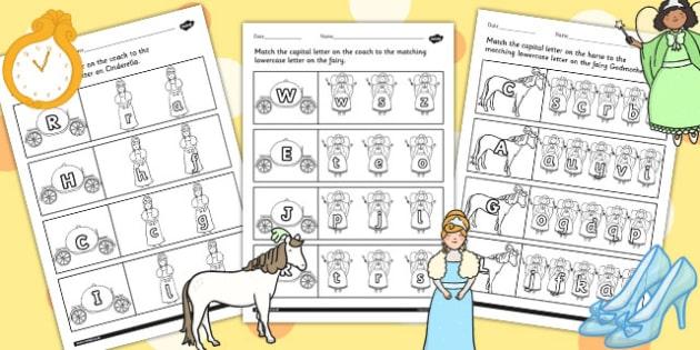 Cinderella Themed Capital Letter Matching Worksheet - cinderella
