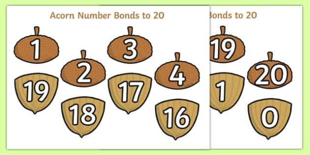 Autumn Acorn Number Bonds to 20 - number bonds, autumn, autumn number bonds, acorn, acorn number bonds, number bonds to 20, autumn acorn number bonds, autumn numbrt bonds