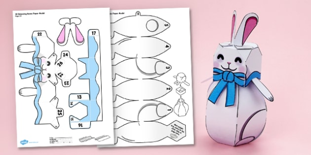 3D Easter Balancing Paper Bunny Model Display - 3d, easter, balancing, paper bunny, paper, bunny, model, display