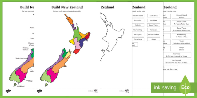 Build New Zealand Regions Jigsaw Puzzle - map, New Zealand, geography, maps, regions, jigsaw