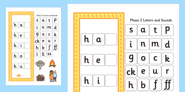 CVC h Word Activity Including Phase 2 Letters and Sounds - phases