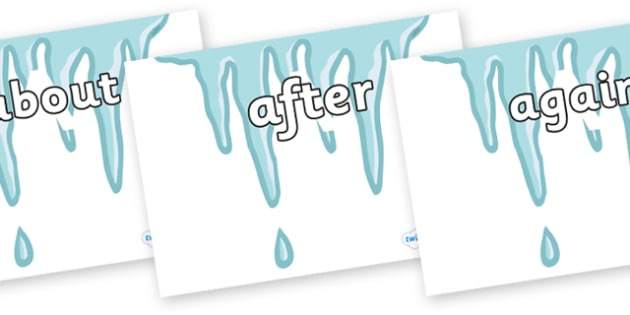 KS1 Keywords on Icicles - KS1, CLL, Communication language and literacy, Display, Key words, high frequency words, foundation stage literacy, DfES Letters and Sounds, Letters and Sounds, spelling