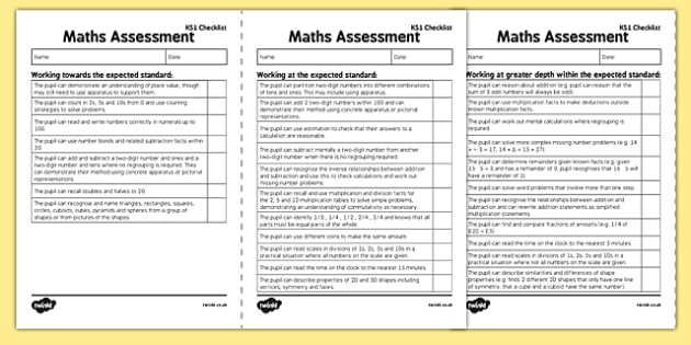 KS1 Maths Exemplification Checklist - Assessment, checklist, KS1 maths exemplification