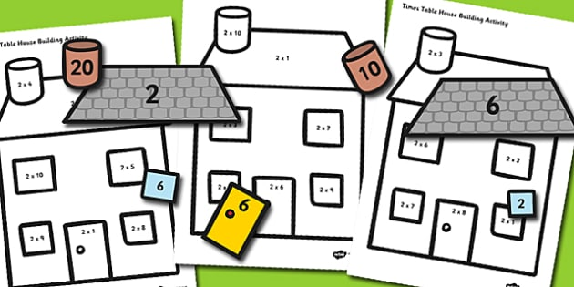 2 Times Table Active Picture Building Activity House - time table