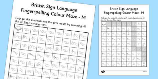 British Sign Language Left Handed Fingerspelling Colour Maze M