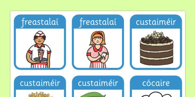Restaurant Role Play Badges Gaeilge - gaeilge, food, roleplay, props, badge, eat